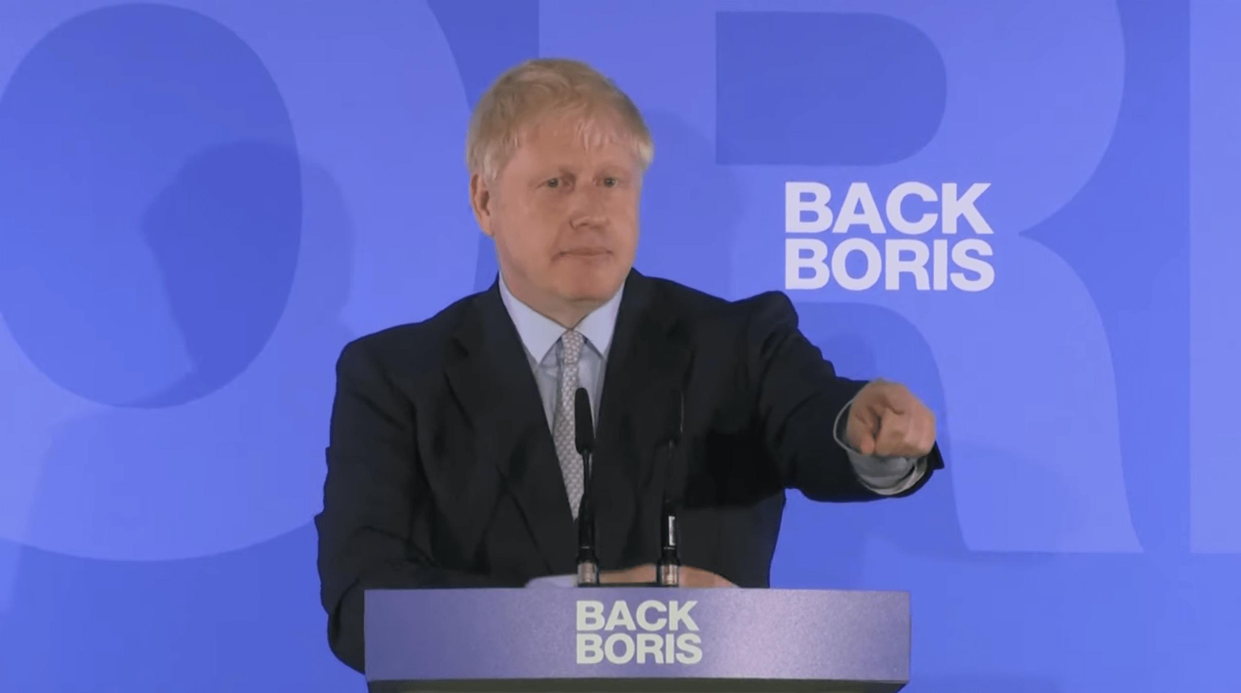 Boris Johnson à la conférence de presse de lancement de sa campagne pour le 10 Downing Street (élection à la tête des Tories)